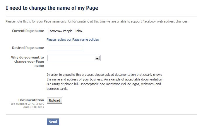 I want to change my facebook page name