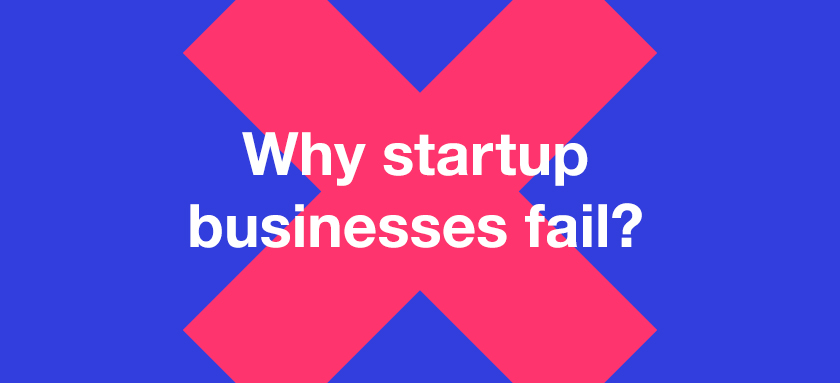 """Red cross with text overlayed """"Why startup business fail"""""""