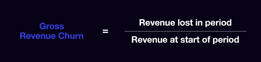 Gross Revenue Churn = Revenue lost in period / Revenue at start of period