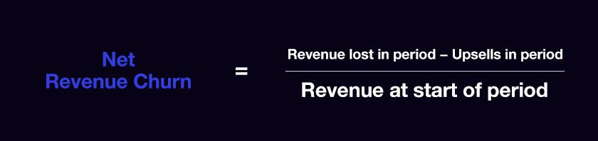 Net Revenue Churn = Revenue lost in period − Upsells in period / Revenue at start of period